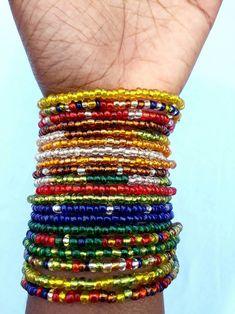Multicoloured bracelets,gift for her,bracelets for her,beads Making Bracelets With Beads, Seed Bead Bracelets, Ankle Bracelets, Bracelet Making, Jewelry Making, Seed Beads, Waist Jewelry, Loc Jewelry, Beaded Jewelry