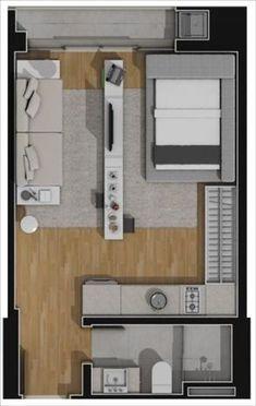 apartamento planta tipo 1 quarto 32,76m2