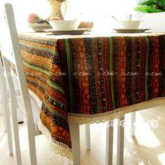 Style ethnique qualité coton et lin dentelle à manger nappe multi fonctionnelle…