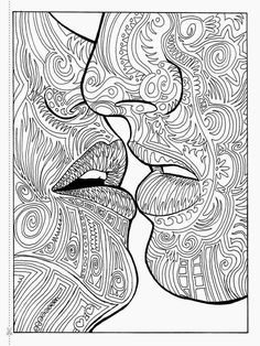 I was looking for coloring De-Stress ideas for my relative with cancer while she's recovering. Good art-therapy-type meditation on Love and connection with a higher power, holy sacramental kiss. Blank Coloring Pages, Printable Adult Coloring Pages, Coloring Sheets, Coloring Books, Zentangle Drawings, Colorful Pictures, Steampunk, Sketches, Papercutting