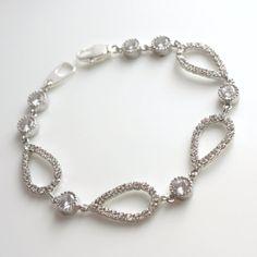 Wedding Bracelet Wedding Jewelry Bridal Bracelet Teardrop Cubic Zirconia Silver Bracelet on Etsy, $43.00