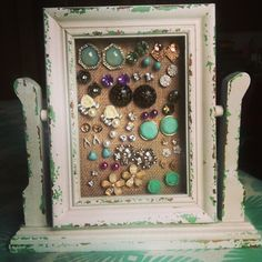 my own DIY stud earring holder made from a picture frame  burlap!