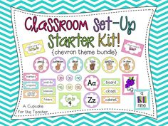 Classroom Set-Up Starter Kit! Now with editable supply & around the room labels! Over 100 pages!
