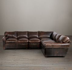 Lancaster Leather L-Sectional. Shown in Italian Brompton Cocoa, but I may like Vintage Cigar better.