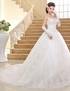 Ball Gown Sweetheart Chapel Train Lace Wedding Dress – USD $ 119.99
