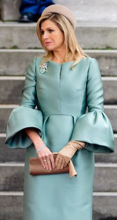 A stunning aquamarine brooch worn by Queen Maxima.