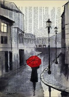 Rainy Day - Ink Drawing. Red really catches your eye in a plain black ink drawing.