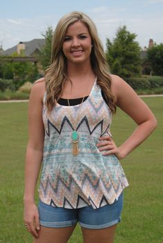 Peach and Mint Aztec Tank Top