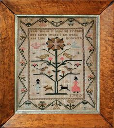 English Sampler with Black Lady and Gentleman, 1789