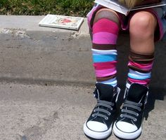 leg warmers for kids made from adult socks.
