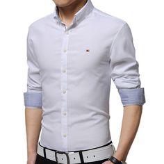 High Quality 2016 New Korean Style Fashion Pure Color Basic Shirt Male Slim