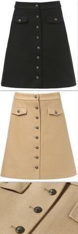 Wool-Blend Button Embellished Skirt, Black or Camel