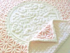Pink chenille baby girl quilt white vintage by moreChenilleChateau