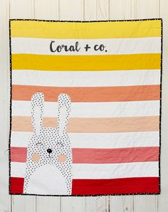 Modern Ombre Baby Quilt with a bunny made by coral and co.