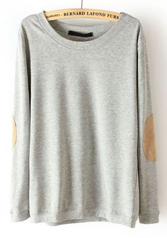 ++ Grey Long Sleeve Elbow Patch Pullover Sweater