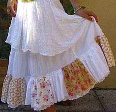 long tiered skirt with row of colorful calico squares