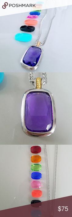 Joan Rivers Interchangeable Gems Pendant Necklace Joan Rivers Interchangeable Gems Pendant Necklace  Comes with 10 different colored gems that can swapped out in the pendant  Silver chain with gold detail  Approximately 34 inches end to end Joan Rivers Jewelry Necklaces