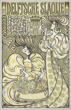 """illustration hollandaise : Jan Toorop, 1893, """"Delftsche Slaolie"""", publicitaire, 1890s"""