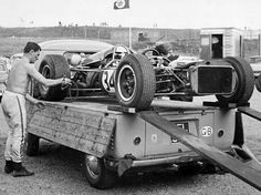 DW Racing Enterprises' was very DIY! Here Bob Anderson loads his Brabham BT11 Climax onto his Kombi for the long drive back to the UK. Dutch GP Zandvoort 1966