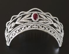 Cartier Diamond and Ruby Tiara; Worn At: Hessian Coronation --- 2015 Oldenburg Coronation Ceremony --- 2016 Luxembourg National Day State Banquet