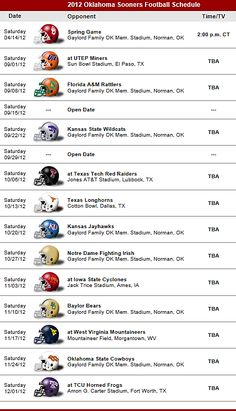 Oklahoma Sooners 2012 Football Schedule