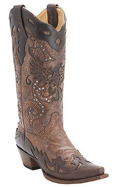 Corral Ladies Brown w/ Chocolate Eagle Inlay and Wingtip Snip Toe Western Boots | Cavender's