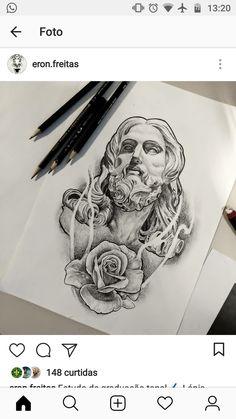 Jesus Tattoo Design, Angel Tattoo Designs, Tattoo Design Drawings, Aztec Tattoos Sleeve, Best Sleeve Tattoos, Holy Tattoos, Life Tattoos, Religion Tattoos, Neo Tattoo