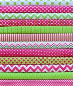 NEW Watermelon Fat Quarter Bundle - Pink Lime Green & White Fabrics on Etsy, $30.00