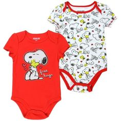 """Snoopy Infant Baby Girls """"Free Hugs"""" Creeper Onesie Bodysuit - 2 Pack"""