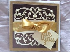 A fancy card on a kraft card stock based. Tonic dies for the lacy decoration & lettering. Birthday Gift Cards, Birthday Cards For Women, Happy Birthday, Hand Made Greeting Cards, Making Greeting Cards, Card Making Inspiration, Making Ideas, Inspiration Cards, Wedding Anniversary Cards