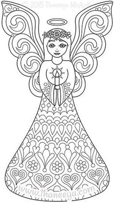 Color christmas coloring book angel by thaneeya angeles para colorear, mandalas para colorear, dibujos Angel Coloring Pages, Abstract Coloring Pages, Flower Coloring Pages, Mandala Coloring Pages, Free Coloring Pages, Coloring For Kids, Coloring Books, Christmas Angels, Christmas Art