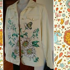 Diane's essentials denim jacket sz sm Diane's essentials pale yellow denim jacket sz sm. Gorgeous flowers and butterflies. Touch of sequins. Last pic is hand done workmanship on inside of piece. Like new.  Gorgeous! Diane's essentials Jackets & Coats Jean Jackets