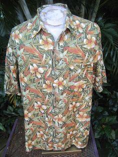 HAWAIIAN Aloha SHIRT XL pit to pit 26 CARIBBEAN Silk Blend tropical jungle print #Caribbean #ButtonFront