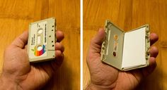 Impress your colleagues with a cassette business card holder.