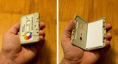 Cassette business card holder.
