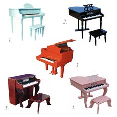 1. This amazing little robin's egg child sized piano is such a beautiful shade of blue, it could work in a boy or girl's nursery.  2. A simple and classic black piano is always a stunner – those spindle legs are so fantastic.  3. This cherry red piano is so unbelievably glamorous!  4. What little girl wouldn't want a pink piano to call her own?  5. And lastly, a beautiful mahogany piano to fit any room in the house