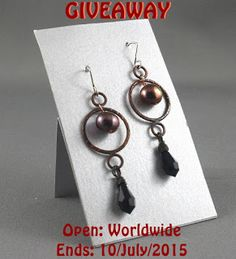 Jewelry Designer Blog. Jewelry by Natalia Khon: Giveaway of copper earrings with pearls and Swarovski crystals