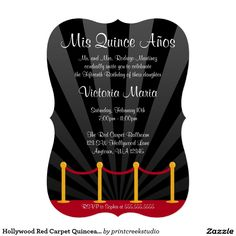 Hollywood Red Carpet Quinceanera Party Card