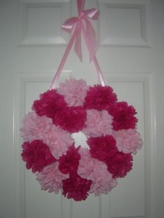 """Tissue pom pom - Door wreath - 16""""  - you choose your color - weddings, birthdays, showers, princess party, sweet sixteen on Etsy, $24.00"""