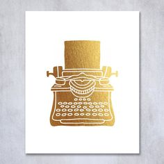 Typewriter Gold Foil Print 8x10 or 5x7 Classic Office Glam Desk Decor Type writer Girly Geek Chic Nerd Girl Kids Room Poster Wall Art B46. Digibuddha(TM) real foil art prints are made by hand in our small shop just outside of Philadelphia. • Made with gorgeous luxe gold foil and premium pure white matte card stock. • Prints arrive unmatted, ready to be placed in your favorite frame. • Original design: all Digibuddha(TM) paper goods are exclusively created in-house by our design team.
