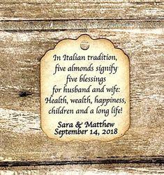 50 Custom Jordan Almond Tags, Five Wishes Poem, Italian Custom, Wedding Bomboniere Jordan Almonds, Tiny Tags, Custom Jordans, Italian Traditions, Wedding Favor Tags, Shower Gifts, Card Stock, Poems, Gift Ideas