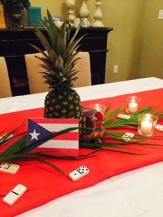 My Table Set Up For Our Puerto Rican Party Made The Flag