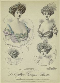 "French Fashion Chromolithograph victorian hairstyles plate 1900s - ""La Coiffure Francaise Illustree"""