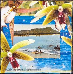 BLUE HAWAIIAN, 11 x 14, Matted Print hand signed by Artist, home decor, wall art, Hawaii, Diamond Head, Orchids, Blue