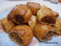 Sausage Rolls —  1 small brown onion 1 clove garlic 1 carrot 1 celery stick 1 tsp fennel seeds 1 tbsp dried oregano 30g Worcestershire sauce 50g bread crumbs 600g mince (pork/beef) 2 sheets Puff pastry