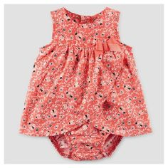 Baby Girls' Ladybug Print Sunsuit Dress - Just One You™ Made by Carter's® Orange/Red