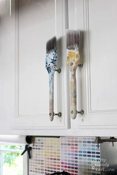 Cabinet handles in the craft room/studio/garage. Would be cute on the Tree house