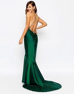 Image 2 ofASOS RED CARPET Deep Plunge Soft Fishtail Maxi Dress