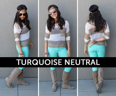 A pop of turquoise mixed in with super neutral tones.