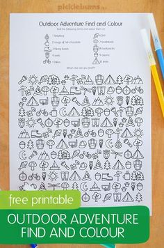 Free printable - outdoor adventure find and colour activity 14 Ways to Decorate Your House for Free: Frame printables or public domain images. Camping Activities, Color Activities, Summer Activities, Craft Activities, Outdoor Activities, Camping Games, Camping Guide, Camping Cabins, Rv Camping